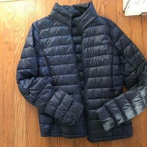 Uniqlo light packable down jacket polka dot XS